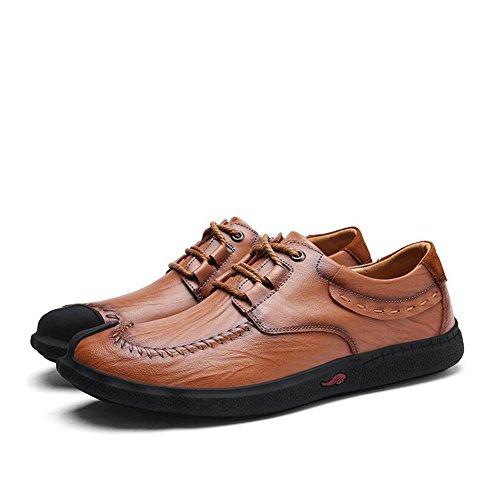 Hommes Casual Hommes Casual Chaussures En Cuir Baskets De Mode Confort En Plein Air Chaussures De Course Léger Conduisant Des Chaussures ( Color : Black3-41 ) Brown2-41