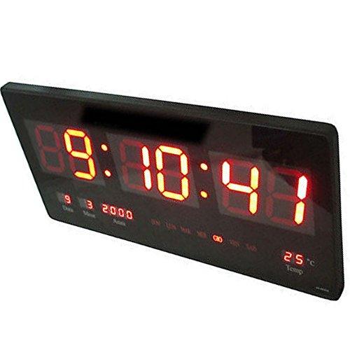 Orologio digitale a LED da parete con datario temperatura e lettura nitida....