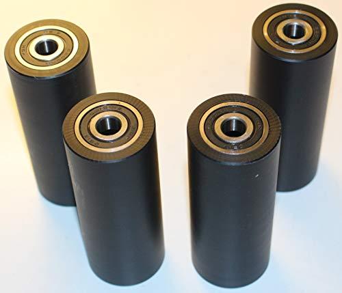4 Stück schwarz Nylon Polyamid Rollen 40 mm Durchmesser 100 mm Breite 10 mm Lager präzise in der EU gefertigt (40-100-10-schwarz)