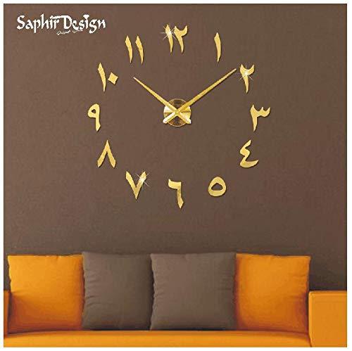 Reloj de Pared 3D árabe con números y manecillas de Reloj – Oro – XL hasta 130 cm
