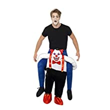 Smiffys Adult men's Sinister Clown Piggy Back Costume, One Piece Suit and Mock Legs, Cirque Sinister, Halloween, One Size, 45201