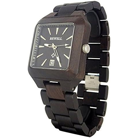 A mano Orologio in legno di sandalo nero quarzo quadrato orologio da polso con data funzione calendario
