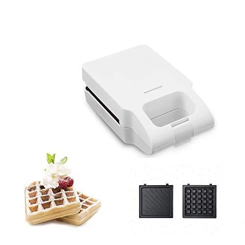 YQLM 2 en 1 Waflera, Mini Waffle Maker Tostadora Sandwich con Platos Removibles Recubrimiento Antiadherente y Control Automático de Temperatura (Color : White, Size : 22.5x13.2cm(9x5inch))