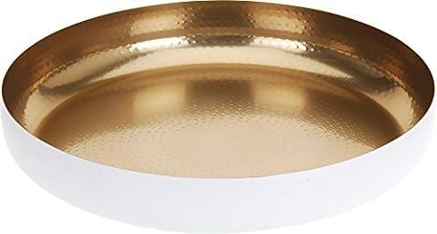 Dekoschale 36 cm lebensmittelecht gold weiß Schale Teller Dekoteller Edelstahl