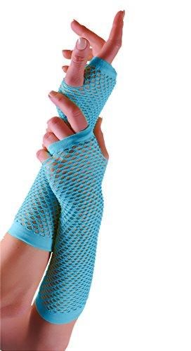 Erwachsene kurze und lange Fingerlose Fisnet Handschuhe Raves Parties 1980s Fancy Dress - Pick & Mix (Türkis - ()