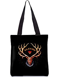Snoogg Elzero Black Designer Poly Canvas Fashion Printed Shopping Shoulder Lunch Tote Bag For Women