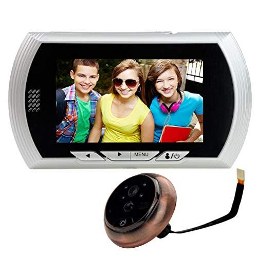 Mirilla Digital Timbre de Puerta 4.3 Pulgadas, Detección de Movimiento PIR, Foto/Video automático, visión Nocturna infrarroja, Modos múltiples, Plateado