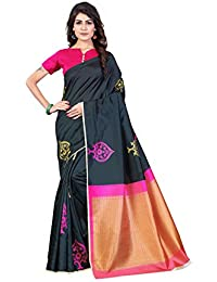 Dream Tree Digital Printed Black Color Saree With Blouse Piece