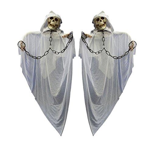 Juego de 2–2enorme Halloween Esqueleto con Monje Blanco Hueso Sotana Manos en cadenas total tamaño más de 1,5metros por fallendes Toalla gewand