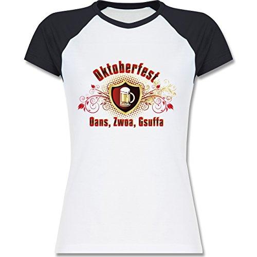 Oktoberfest Damen - Oans, Zwoa, Gsuffa - zweifarbiges Baseballshirt / Raglan T-Shirt für Damen Weiß/Navy Blau