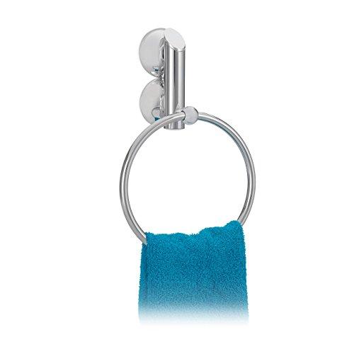 Silber Bad Möbel (Relaxdays Handtuchhalter ohne Bohren KNUTSCHI rund für Bad, Handtuchring, mit Saugnapf, HxBxT: 23 x 15 x 6 cm, silber)