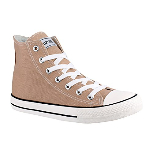 Elara Unisex Sneaker | Sportschuhe für Herren Damen | High Top Turnschuh Textil Schuhe 019-A-B-Khaki-38 Unisex Khaki