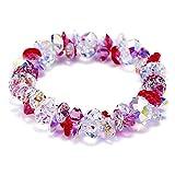 ZSML Frauen elastische Kraft Bangle Armband, Peach Blüten rosa österreichisches Kristall-Armband weiblich Perfekte Schmuckgeschenk