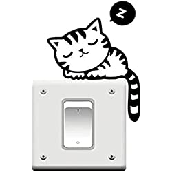 leading star CHEAP FASHION Cute Black Cat Nap Pet Light Switch Funny Wall Decal Vinyl Stickers by leading-star