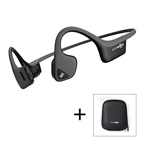 AfterShokz Trekz Air - Écouteurs sans Fil à Conduction Osseuse (Oreilles Libres/Open Ear) Casque Bluetooth pour Sport Course Vélo avec 2 Étuis de Transport, Gris