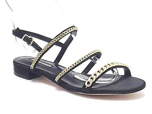 Barachini scarpe donna, modello 4113, sandalo in raso, colore nero