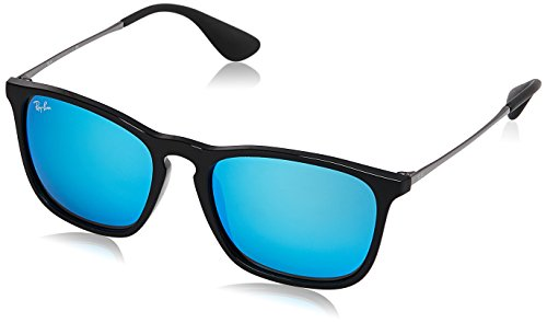 Ray Ban Herren Sonnenbrille Chris Black/Lightgreenmirrorblue One size (54)