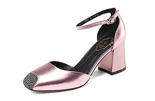 Beauqueen Dorsay Quadrat Zehe Pumpe Leder Mädchen Frauen Casual Knöchel Riemen Silber rosa Pistole Farbe Schuhe Europa Größe 34-39 Pink