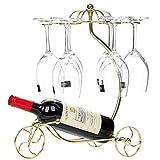 Weinregal mit Glashalter für 1 Flaschen und 6 Stemware, Eisen Streitwagen Design Flaschenregal und Weinglas Rack, Stemware Rack und Weinflaschenregal (Golden)