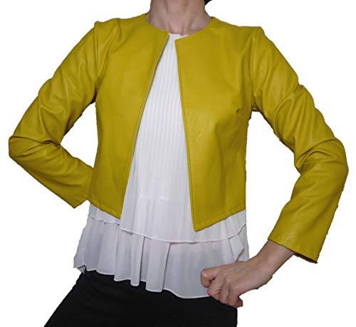 Coprispalle Elegante Cerimonia Eco Pelle Finta Pelle Donna Ragazza Colorati Casual Semplice (XL 46 IT Donna, Giallo)