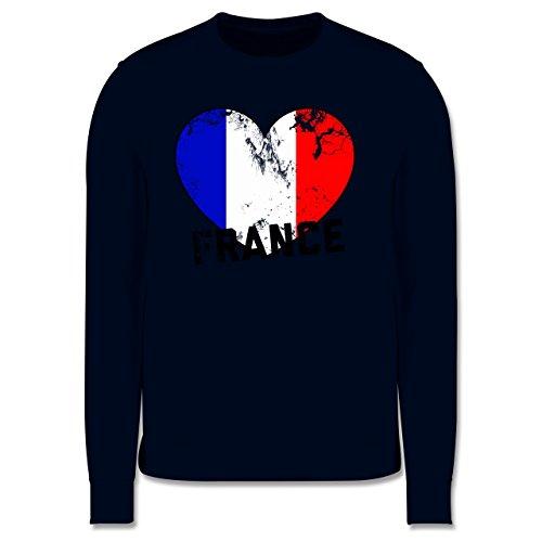 EM 2016 - Frankreich - France Herz Vintage - Herren Premium Pullover Dunkelblau