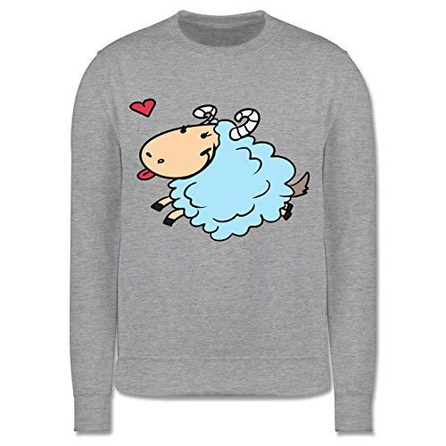 Shirtracer Tiermotive Kind - Ziege Comic - 9-11 Jahre (140) - Grau meliert - JH030K - Kinder Pullover -