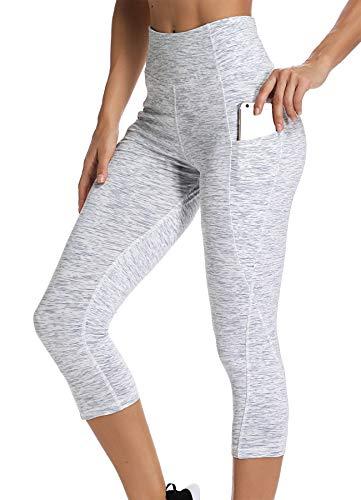 INSTINNCT Damen Doppeltaschen Sport Leggings 3/4 Yogahose Sporthose Laufhose Training Tights mit Handytasche Capris(Upgrade) - Grauweiß XXL (Frauen Weiße / Sporthose Jogginghose Für)