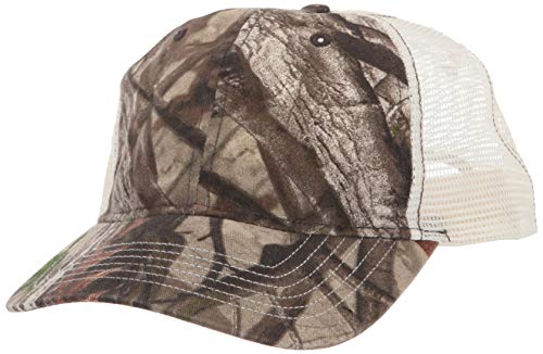 Clementine Herren ULTC-8114-Cut Washed Brushed Cotton Twill Trucker Cap Kappe, Camo/Stone, Einheitsgröße Brushed Cotton Twill Cap