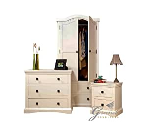 Quartz Bedroom Furniture Set Cream French Style Bedside Tables Chest Of Drawers Wardrobe Amazon