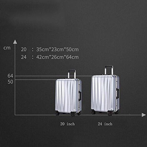 ABS + PC Aluminium Rahmen Aluminium Alu Stange Gepäck 360 ° Omnidirektional - Runde Passwort Reise Gepäck Tasche ( Farbe : 4 , größe : 24 inch ) 4