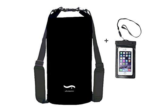 Wasserdichter Packsack 2er Set schwarz / 10L, 5L, 20 L, Smartphone Hülle von uferdamm / verschiedene Farben / Dry bag / Seesack / Outdoor Rucksack / Drybag / Survival Set / Trockentasche / wasserfester Schwimmbeutel / Seesäcke für Wassersport wie Kajak, Kanu, Segeln, Angeln, Schwimmen, Strand, Ausrüstung (schwarz inkl. Smartphone Hülle, 20L) (Schwarz-surf-boot)
