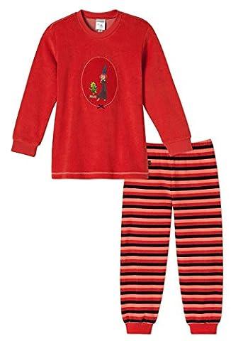 SCHIESSER, Mädchen Schlafanzug lang, Pyjama, Frottee, 'Ritter Rost - Burgfräulein Bö', rot, 10448000,