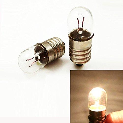 E10 6,3 V / 0,15 A 0,945 W Glühbirne Miniatursockellampe Warmweiß für DIY Lehrer Experiment (10 Stück), 6.3V 0.15A - Glühbirne Experiment