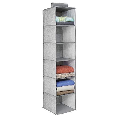 mDesign étagère suspendue - rangement suspendu - meuble suspendu en tissu - polyvalent - 6 compartiments - en polypropylène - gris