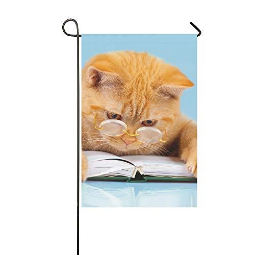 JOCHUAN Dekorative Outdoor doppelseitige niedliche Business Katze mit Brille lesen Garten Flagge, Haus Hof Flagge, Garten Hof Dekorationen, saisonale Willkommen Outdoor Flagge