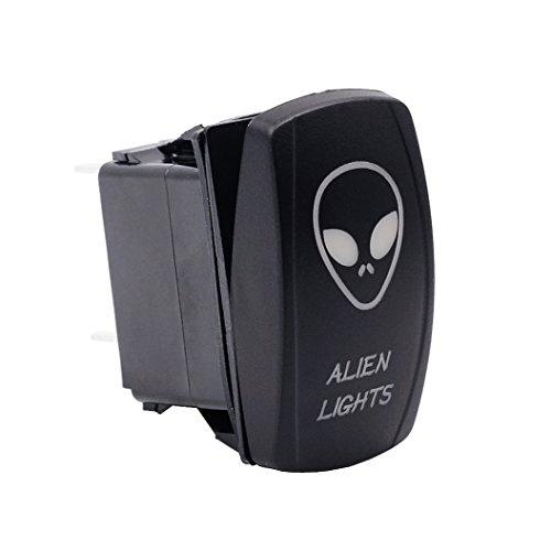 Faylapa Kippschalter Laser Alien Licht Wippschalter 5Pin für Auto Yacht RV Boot LED Licht 20A 12V Blau