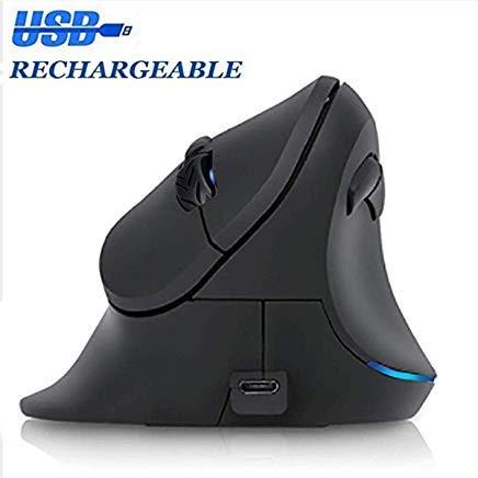 Aufladbare ergonomische Maus, Top Sky Vertikale kabellose Maus, ergonomische Maus einstellbar 1000/1200/1600 DPI, 6 Tasten, 2,4 GHz rechte Hand optische Maus mit USB-Anschluss für PC Laptop Sky Zeiger
