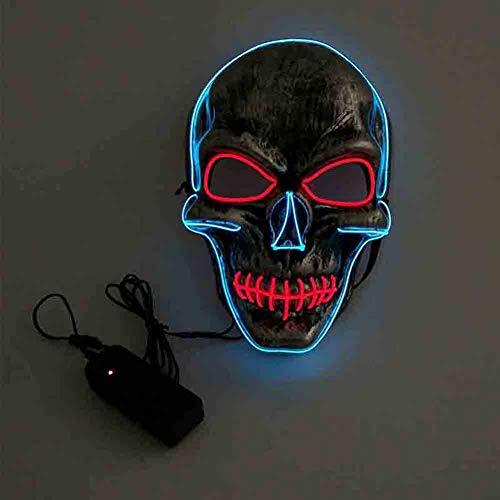 ZGSX Halloween Maske LED Beleuchtung Maske Scary Maske Leuchtenden Schädel EL Draht Leuchtmaske Fest Karneval Kostüm Party 24.5 * 16.5Cm (El Draht Tanz Kostüm)