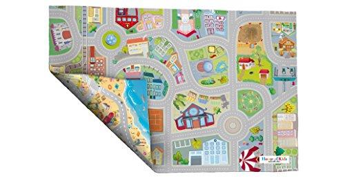 House of Kids–94074–Spiel-Teppich, Umkehrbar–Motiv: Straßen am Meer - 2