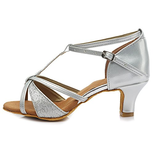 HIPPOSEUS Zapatos de Baile Latino para Mujer Salsa Performance Dancing Shoes con Brillo de Cuero Heel...