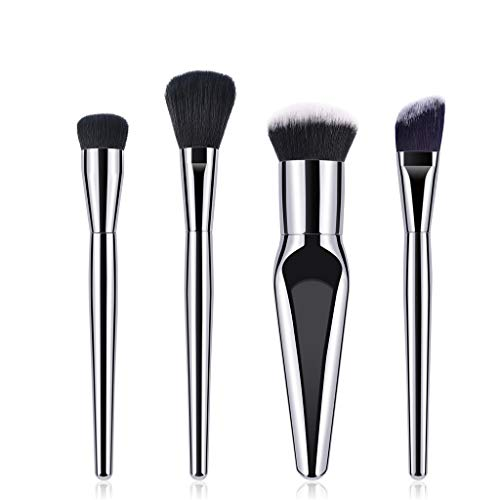 YHYS Pinceau De Maquillage 4 Pcs Professionnel Argent Mat de Haute Qualité Synthétique Pinceau Ombre À Paupières Contour Mix Fondation Poudre Maquillage Pinceau