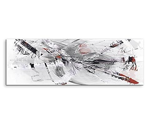 150x50cm Panoramabild abstrakt Leinwanddruck Kunstdruck Wandbild grau beige rot weiß gemalt