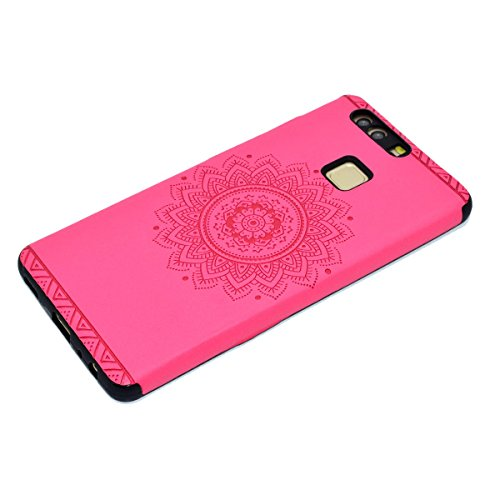 inShang Hülle für Huawei P9 ,Ascend P9 case Ultra Schlank und leicht TPU Bequem Schutzhülle Rückcover (Back Case) design für Handy Huawei P9, Rose printing