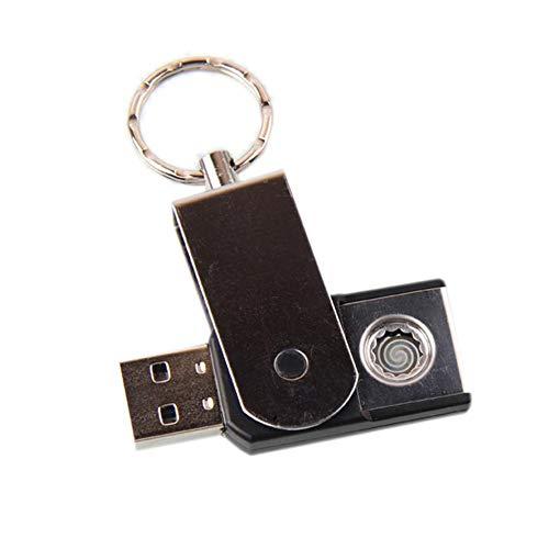 SinceY Llavero Inteligente Encendedor de Cigarrillo de Doble Cara Creativo Carga USB a Prueba de Viento más Ligero de Metal