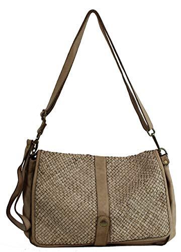 BZNA Bag Lola Beige Italy Designer Clutch Umhängetasche Damen Handtasche Schultertasche Tasche Leder Shopper Neu