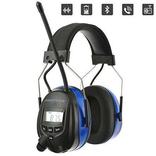 PROTEAR Protecteurs d'oreilles rechargeables avec Bluetooth, Radio numérique FM AM et microphone intégré,SNR 30dB