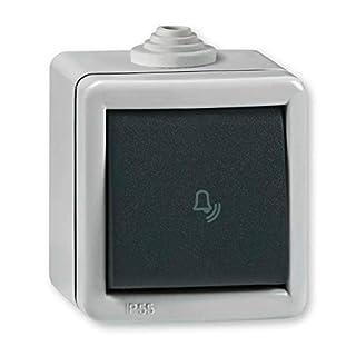 Aufputz Klingeltaster 10AX/250V~ / IP 55 (Metallausführung) Grau mit Wippe in Anthrazit