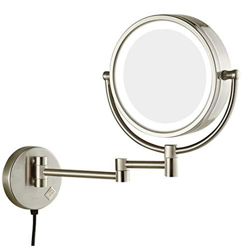 MFASD Espejo De Maquillaje Montado En La Pared con Luz Extensible, Espejo Tocador Aumento Giratoria...