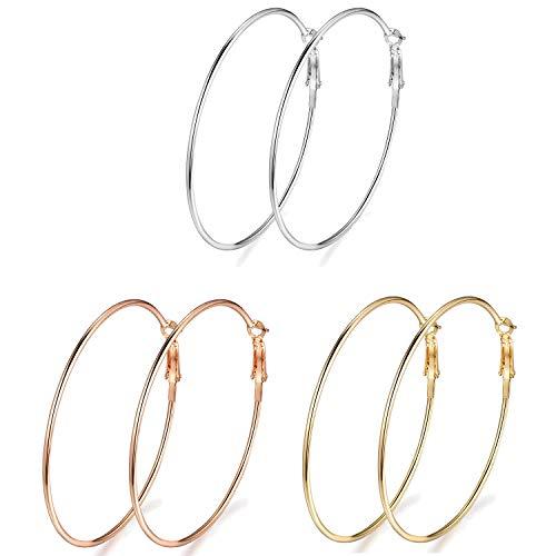 OAONNEA 3 Paare Runde Große Creolen Ohrringe set für Damen Schmuck Edelstahl 60mm Hypoallergenic Hoop Earrings (3mix)
