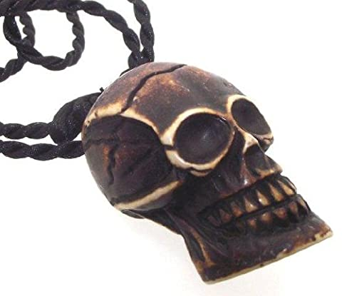 Large Chunky Gothic Resin Skull Pendant with Black